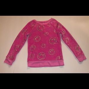 Justice Pink w/ Silver Smileys Long Sleeve Sz 7